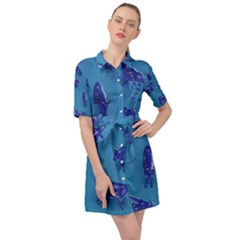 Cow Illustration Blue Belted Shirt Dress