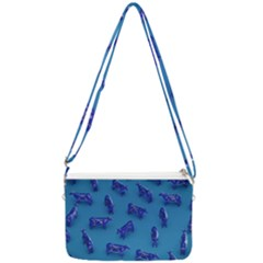 Cow Illustration Blue Double Gusset Crossbody Bag