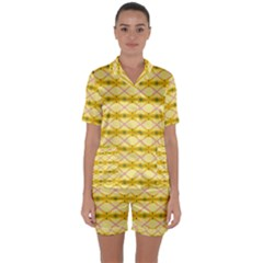 Pattern Pink Yellow Satin Short Sleeve Pyjamas Set