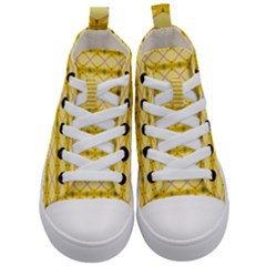 Pattern Pink Yellow Kids  Mid Top Canvas Sneakers