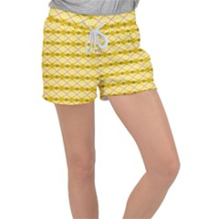 Pattern Pink Yellow Women s Velour Lounge Shorts