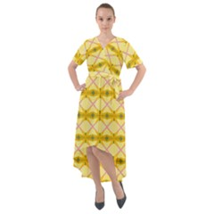 Pattern Pink Yellow Front Wrap High Low Dress by HermanTelo