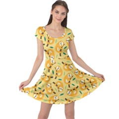 Cute Cartoon Sloth Yellow Cap Sleeve Dress