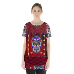 Awesome Sugar Skull With Hearts Skirt Hem Sports Top by FantasyWorld7