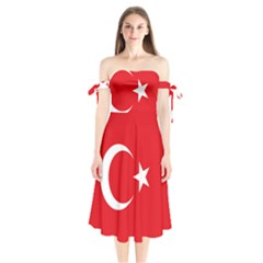 Flag Of Turkey Shoulder Tie Bardot Midi Dress by abbeyz71