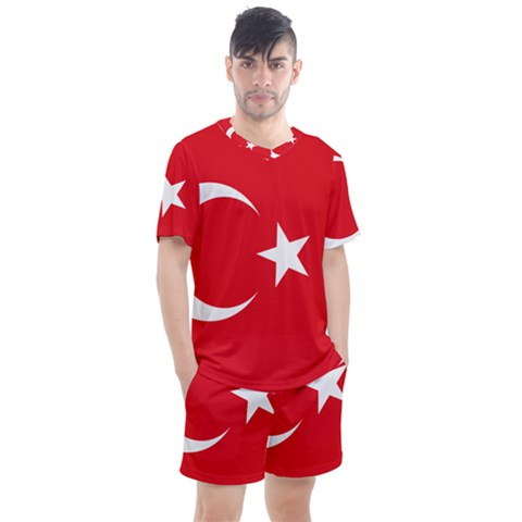Flag Of Turkey Men s Mesh Tee And Shorts Set by abbeyz71