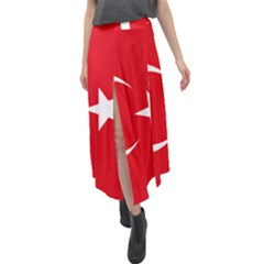 Flag Of Turkey Velour Split Maxi Skirt by abbeyz71