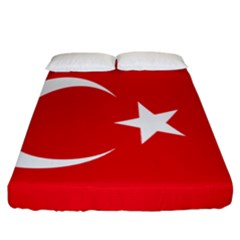 Vertical Flag Of Turkey Fitted Sheet (california King Size) by abbeyz71