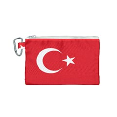 Vertical Flag Of Turkey Canvas Cosmetic Bag (small) by abbeyz71