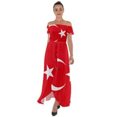 Vertical Flag Of Turkey Off Shoulder Open Front Chiffon Dress by abbeyz71