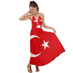 Vertical Flag Of Turkey Backless Maxi Beach Dress by abbeyz71
