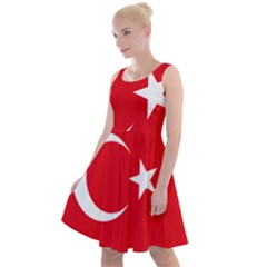Vertical Flag Of Turkey Knee Length Skater Dress by abbeyz71