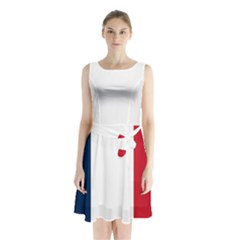 Flag Of France Sleeveless Waist Tie Chiffon Dress by abbeyz71