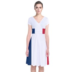 Flag Of France Short Sleeve Front Wrap Dress by abbeyz71