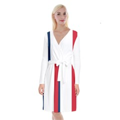 Flag Of France Long Sleeve Velvet Front Wrap Dress by abbeyz71