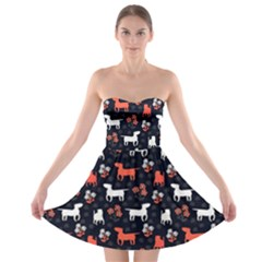 Bull Terrier Dog Silhouettes Strapless Bra Top Dress by trulycreative