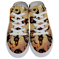 Funny Halloween Design, Pumpkin, Cat, Owl And Crow Half Slippers by FantasyWorld7