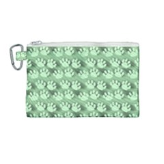 Pattern Texture Feet Dog Green Canvas Cosmetic Bag (medium)