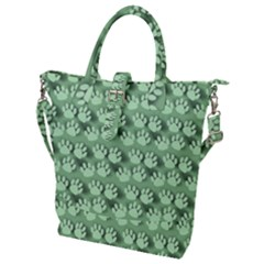 Pattern Texture Feet Dog Green Buckle Top Tote Bag