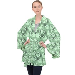Pattern Texture Feet Dog Green Long Sleeve Velvet Kimono