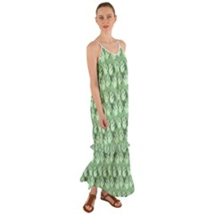 Pattern Texture Feet Dog Green Cami Maxi Ruffle Chiffon Dress