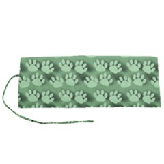 Pattern Texture Feet Dog Green Roll Up Canvas Pencil Holder (s)