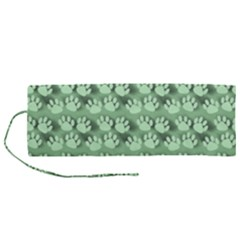 Pattern Texture Feet Dog Green Roll Up Canvas Pencil Holder (m) by HermanTelo