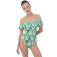 Pattern Texture Feet Dog Green Frill Detail One Piece Swimsuit