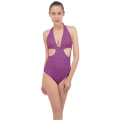 Background Polka Pattern Pink Halter Front Plunge Swimsuit by HermanTelo