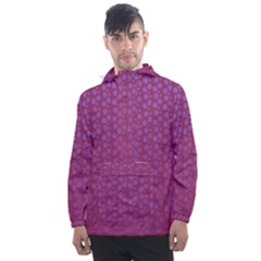 Background Polka Pattern Pink Men s Front Pocket Pullover Windbreaker by HermanTelo