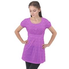 Background Polka Pink Puff Sleeve Tunic Top
