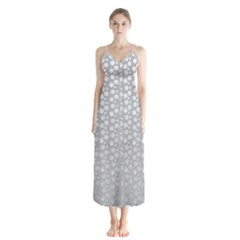 Background Polka Grey Button Up Chiffon Maxi Dress