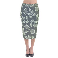 Flowers Pattern Spring Nature Velvet Midi Pencil Skirt