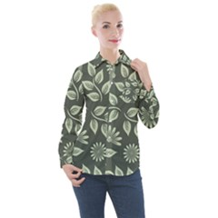 Flowers Pattern Spring Nature Women s Long Sleeve Pocket Shirt