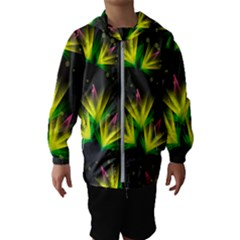 Floral Abstract Lines Kids  Hooded Windbreaker