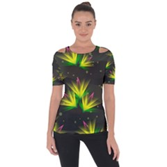Floral Abstract Lines Shoulder Cut Out Short Sleeve Top