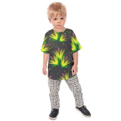 Floral Abstract Lines Kids  Raglan Tee