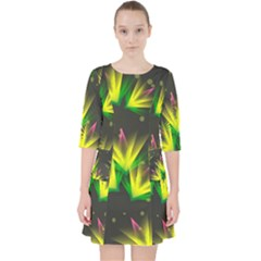 Floral Abstract Lines Pocket Dress