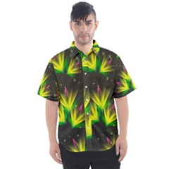 Floral Abstract Lines Men s Short Sleeve Shirt