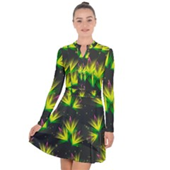 Floral Abstract Lines Long Sleeve Panel Dress
