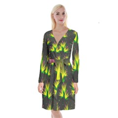 Floral Abstract Lines Long Sleeve Velvet Front Wrap Dress