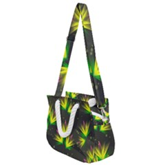 Floral Abstract Lines Rope Handles Shoulder Strap Bag