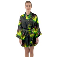 Floral Abstract Lines Long Sleeve Satin Kimono by HermanTelo