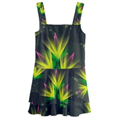 Floral Abstract Lines Kids  Layered Skirt Swimsuit