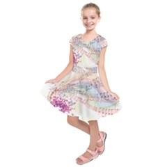 Music Notes Abstract Kids  Short Sleeve Dress