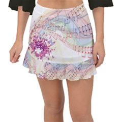 Music Notes Abstract Fishtail Mini Chiffon Skirt