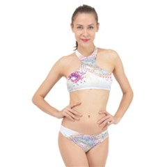 Music Notes Abstract High Neck Bikini Set by HermanTelo