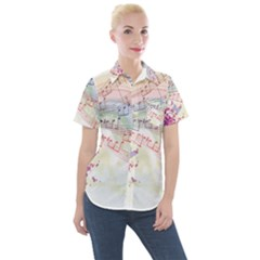 Music Notes Abstract Women s Short Sleeve Pocket Shirt