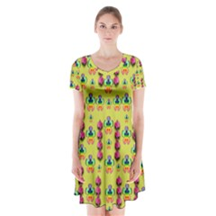 Power Can Be Flowers And Ornate Colors Decorative Short Sleeve V Neck Flare Dress