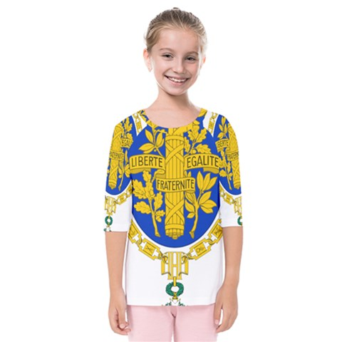 Coat O Arms Of The French Republic Kids  Quarter Sleeve Raglan Tee by abbeyz71